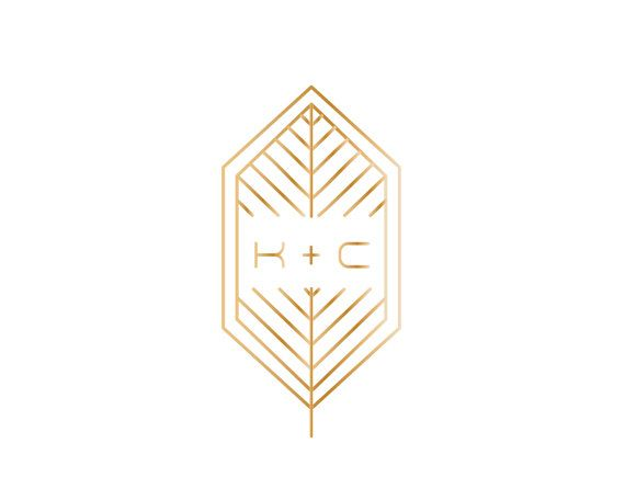 Gold Geometric Leaf Wedding Logo with Art by JuneMangoWeddings