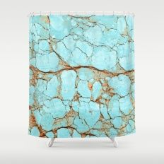 Rusty Cracked Turquoise Shower Curtain #agate #quartz #rocks #minerals #crystals #prettystuff #hygge