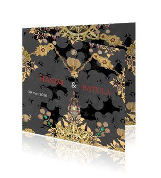 Arabisch / islamitische trouwkaart zwart  http://mycards.nl/trouwkaarten/originele-trouwkaarten/origineel-islamitische-ornamenten-zwart