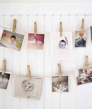 Simply use ribbon and clothespins to display pictures of family and friends or cards received. Adds a personal touch to the kiddos rooms!
