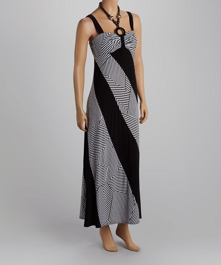 Black & White Color Block Halter Dress