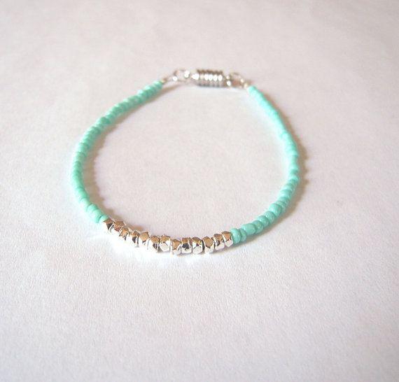 Delicate Ocean Blue Beaded Bracelet - Green Seed Bead Friendship Bracelet - Stackable Bracelet