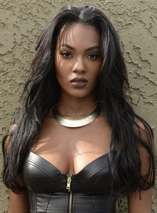 African American Women Long Straight Middle Parted Sweep Lace Front Human Hair Wigs 18 Inches