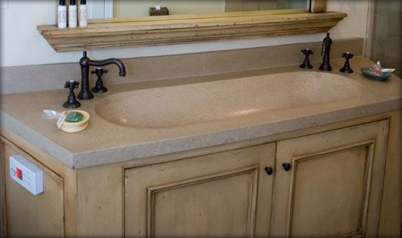 ... Trough Sink (Sonoma Cast Stone)   Double Faucet But Only One Drain  Would Give Much More Storage In A Small Bathroom. I Like The One Piece Sink  Counter.