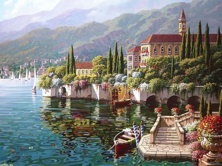 Варенна на берегу озера Комо, Италия, Bob Pejman 1600x1200