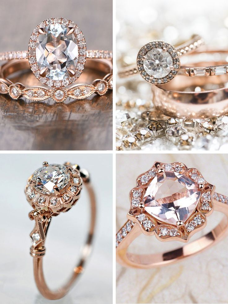 Strictly Weddings top picks for rose gold engagement rings showcasing modern designs that are blended with a vintage feel creating all kinds of prettiness.