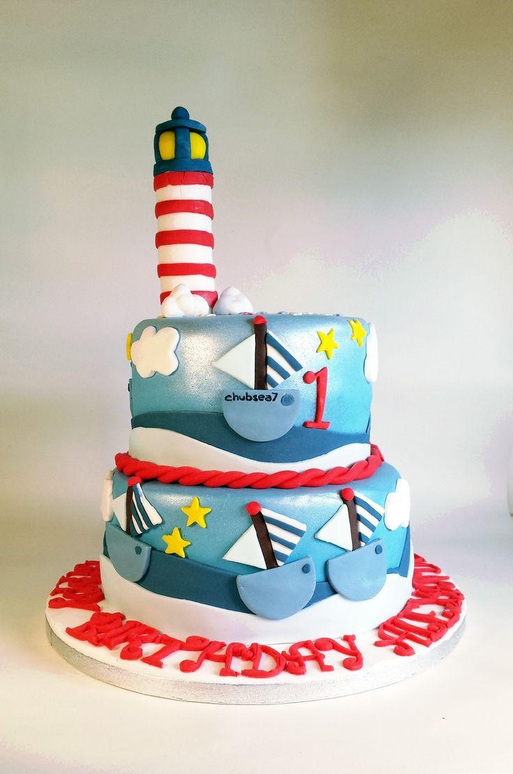 Lighthouse And Boats Nautical Sailing Cake Lighthouse And Boats Nautical  Sailing Cake #featured Cakes