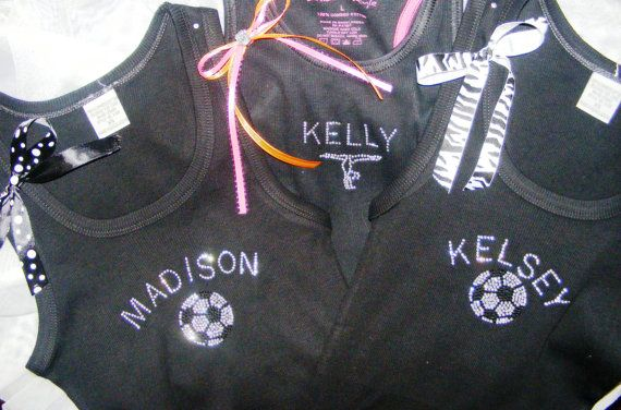 Personalized Embellished Embroidered Jeweled Crystal Rhinestone Soccer Tank Top Shirt Youth Girls Adult on Etsy, $24.95