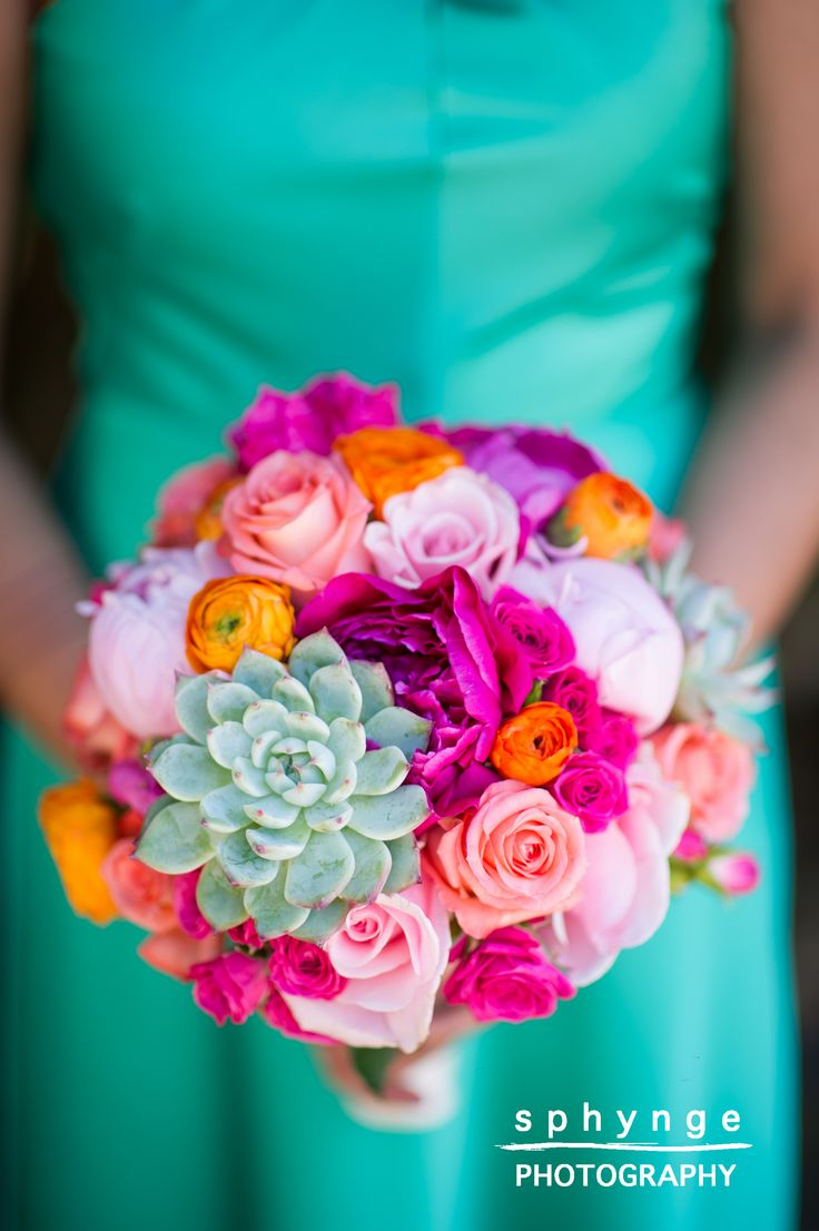 turquoise bridesmaid dress with succulent and peonies, orange, fuchsia and pink bouquet