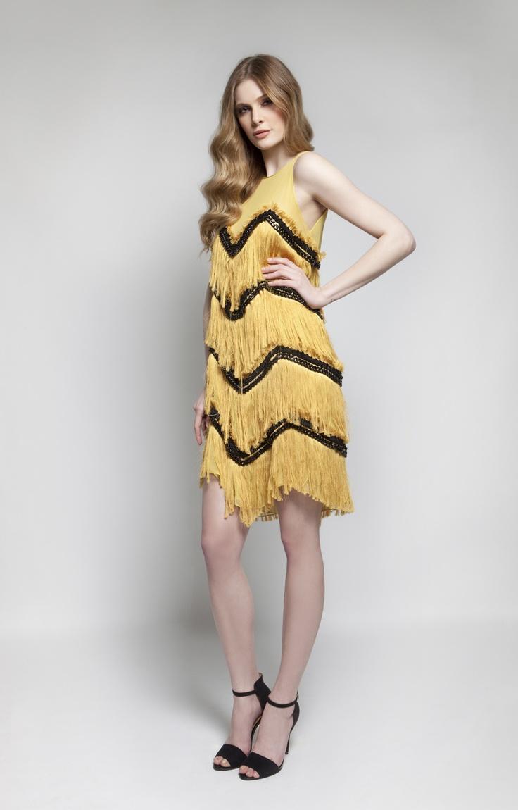 CHRISTOS COSTARELLOS AW 12-13 Silk Tassels+Chain Short Dress.