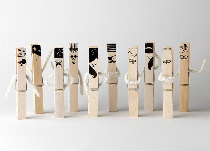 hand-drawn clothespins / mr.nico