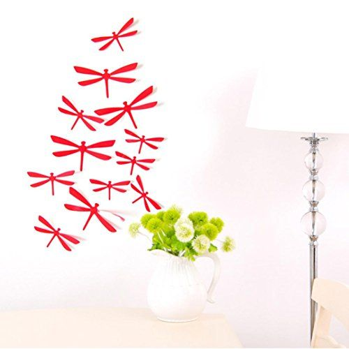 $1.99 - euone 12pcs 3d diy decor dragonfly home party wall stickers