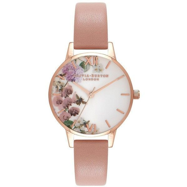 Olivia Burton Women's Enchanted Garden Stainless Steel Leather-Strap... (£84) ❤ liked on Polyvore featuring jewelry, watches, peach, olivia burton watches, olivia burton, floral watches, leather strap watches and stainless steel wrist watch