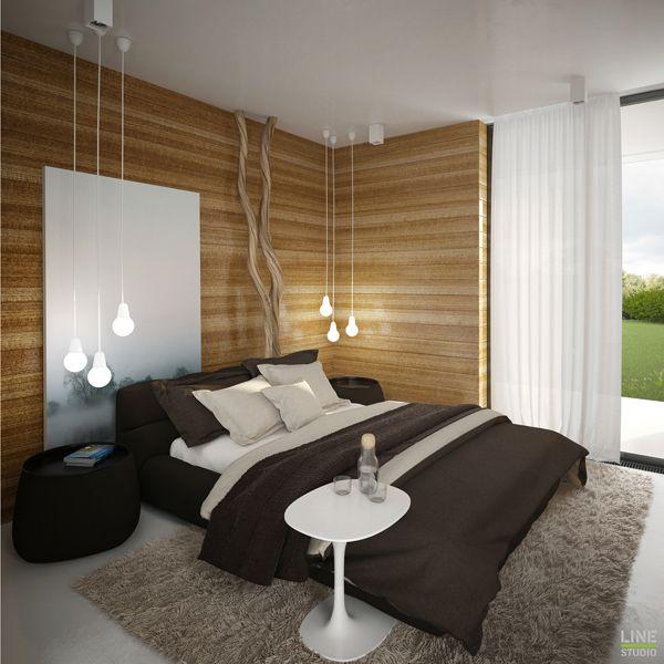 Un style contemporain et sobre - une touche d'originalité avec les 3 suspensions au-dessus de chaque table de chevet #bedroom