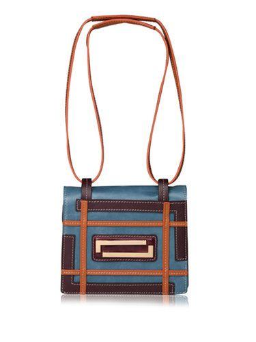 Image of Blue-purple Retro Maze Zipper Shoulder Bag