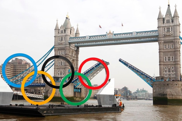 The Olympic Rings passing Tower Bridge, Lodon