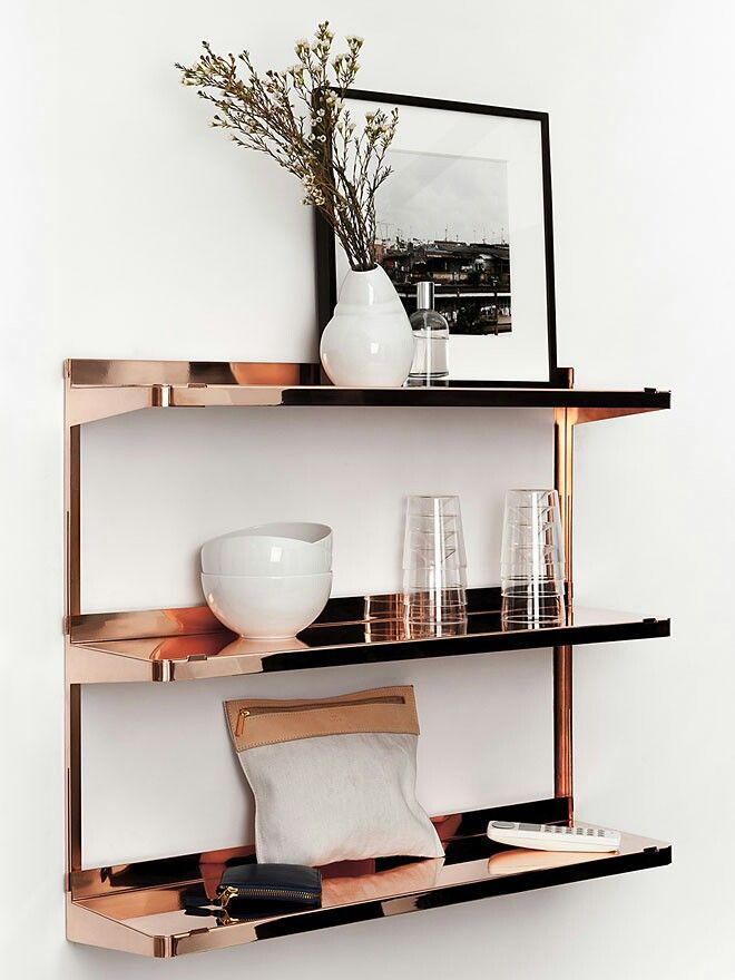 Love these rose gold metal shelves by New tendency