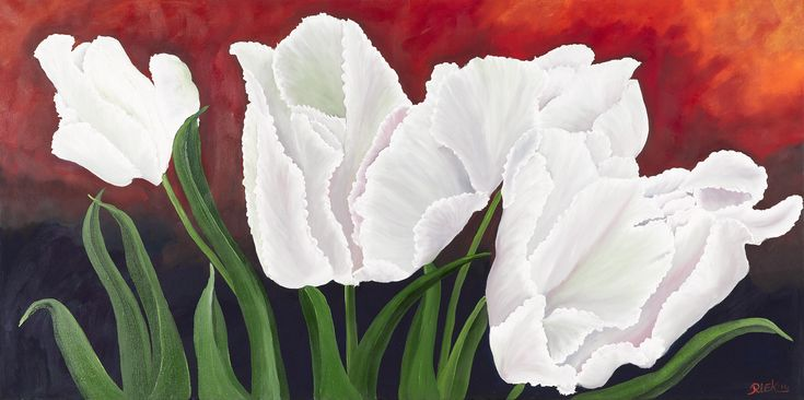 White tulips afmeting 70 x 140 cm olieverf