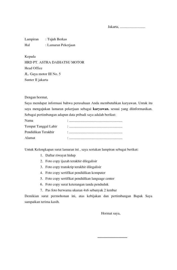 9 Contoh Surat Lamaran Kerja Karyawan | ben jobs