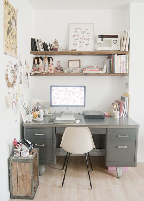 Metal desk on gorgeous muted coloured office