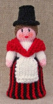 Miniature Welsh Lady Doll (12cm tall) - Free Knitting Pattern Here: http://www.clarewools.co.uk/free-pattern-miniature-welsh-lady.php