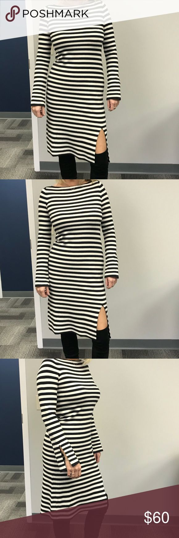 Ann Taylor Sweater Dress! Black and white lightweight sweater dress with a slit in the front and sleeves. I'm 5'9 and 140 pounds and this is an extra small. Ann Taylor Dresses Midi
