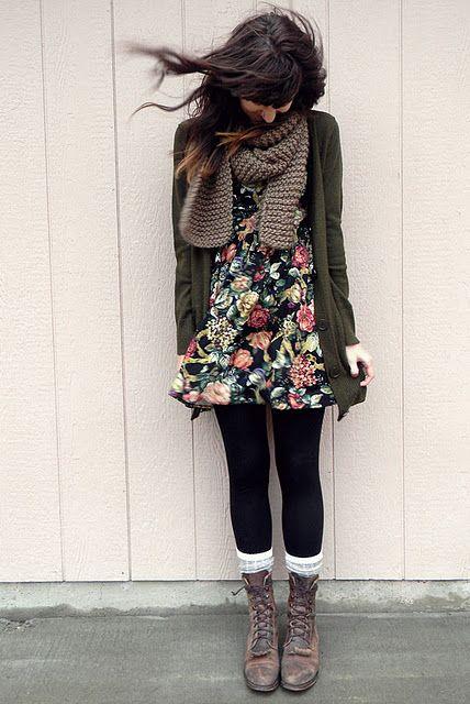 short dress + Grampa cardigan + chunky scarf + cute legs