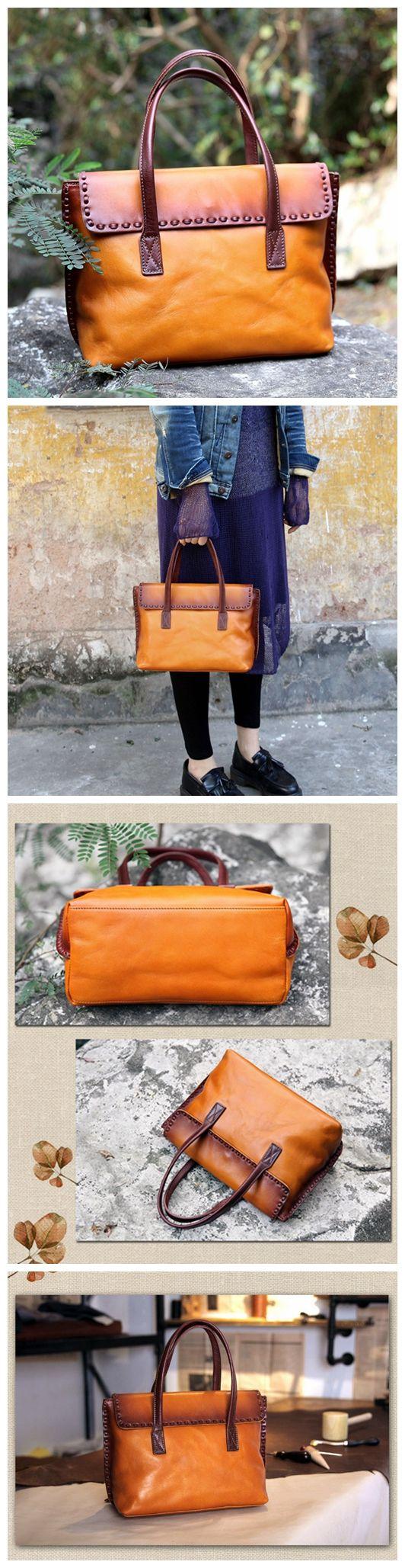 LISABAG--Vintage Genuine Leather Tote Bag Handbag Women Leather Shopping Bag Shoulder Bag AK01