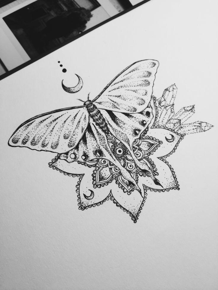 luna moth tattoo design mandala henna moon dotwork crystal cluster