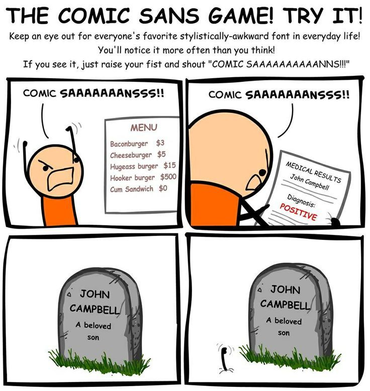 Image result for comic sans cyanide and happiness