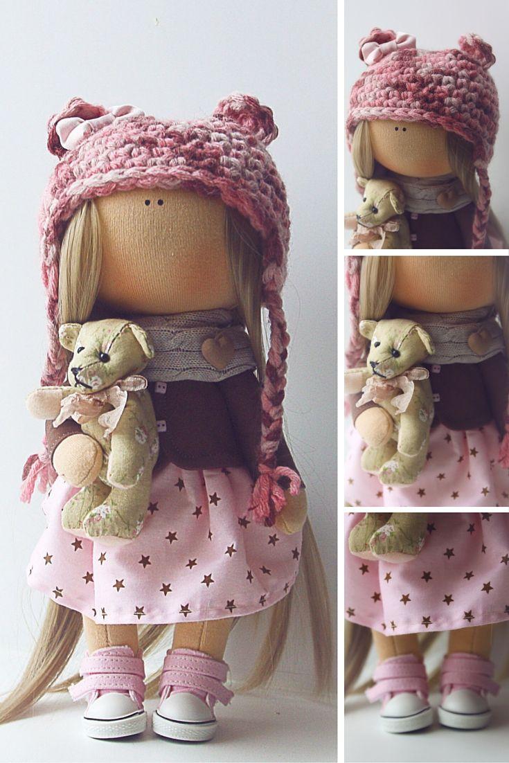 Fabric doll, Textile doll, Cloth doll, Tilda doll, Baby doll, Soft doll handmade