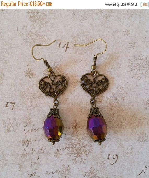 Brons paarse oorbellen, druppel oorbellen, bronze hart oorbellen, elegante oorbellen