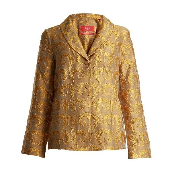 F.R.S  For Restless Sleepers Arabesque shawl-lapel brocade jacket (€550) ❤ liked on Polyvore featuring outerwear, jackets, gold multi, evening shawl, lightweight jackets, shawl lapel jacket, brocade jacket and lapel jacket