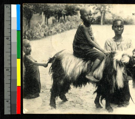 Mother and children with goat, Congo, ca.1920-1940 :: International Mission Photography Archive, ca.1860-ca.1960