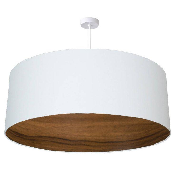 Oversize Walnut Wood Lined Ceiling Pendant Shade