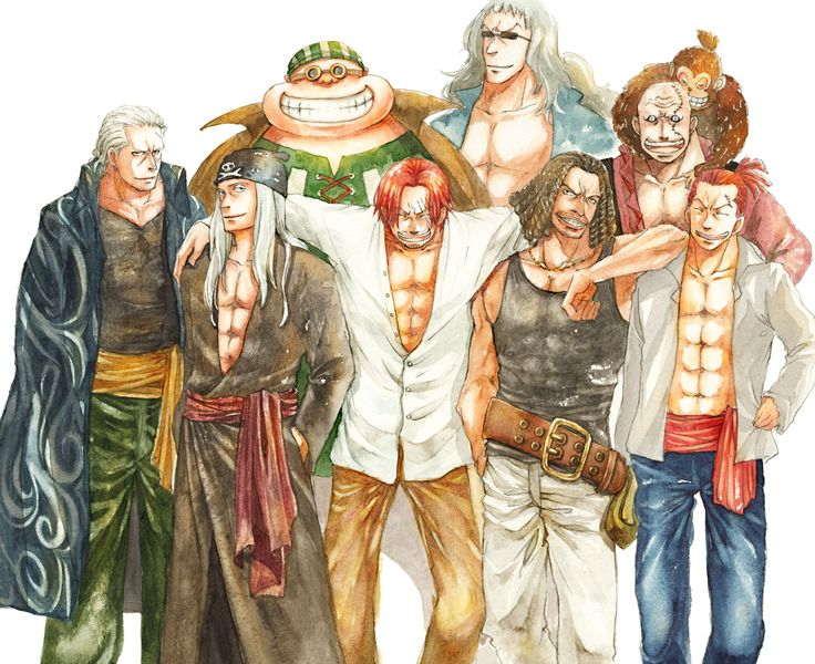 Red Haired Pirates Shanks, Benn Beckman, Lucky Roux, Yasopp (unable to find original source)