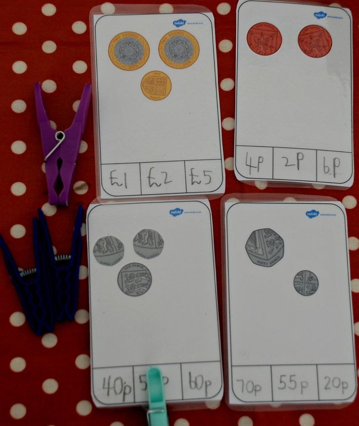 Making your own Money peg cards.  Great way to help kids learn about money and using the pegs helps to strengthen their fingers