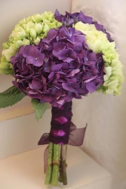 Purple green hydrangea bouquet mr mrshayes