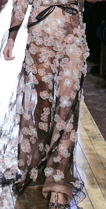Valentino floral gown with applique embellishment detail