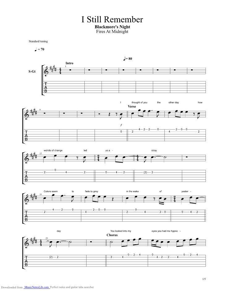 I Still Remember guitar pro tab by Blackmores Night @ musicnoteslib.com