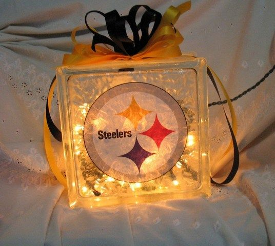 christmas crafts with glass | Sports Lights, Pittsburgh Steelers. Glass Block wi