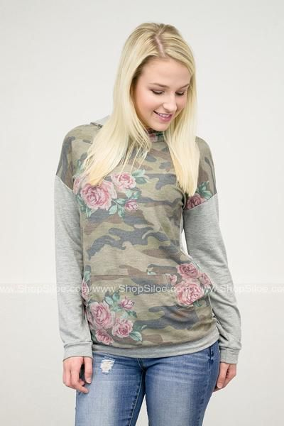 Camouflage Rose Pullover Hoody