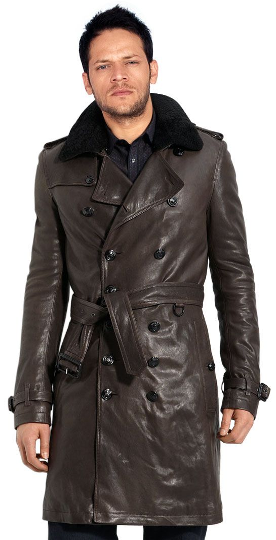 Buy modish belted mens leather trench coat online