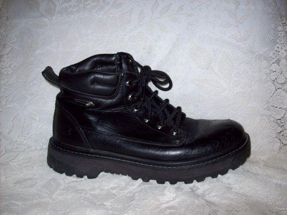 Vintage Men's Black Leather Boots by Skechers Size by SusOriginals, $15.00