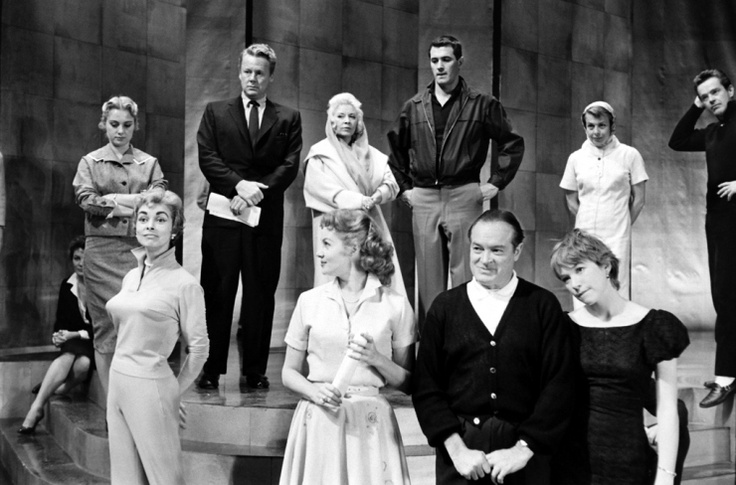Shirley Jones, Van Johnson, Mae West, Rock Hudson, and husband-and-wife dancing team Marge and Gower Champion. Bottom: Janet Leigh, Rhonda Fleming, Bob Hope, and Shirley MacLaine.