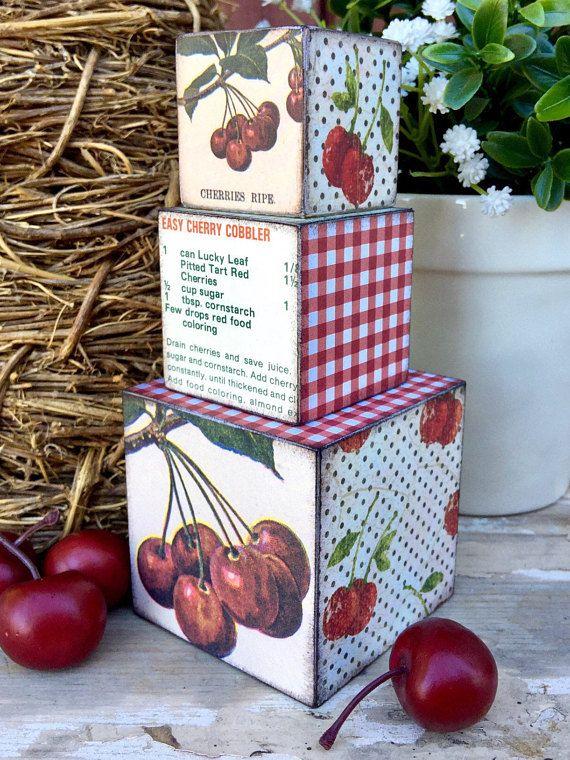 Cherry Kitchen Decor Dark Red Cherry Decor Kitchen Decor Block