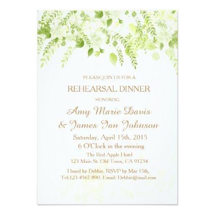 Green Boho Floral Spring Rehearsal Dinner Invite - invitations custom unique diy personalize occasions