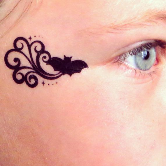 Bat batman Batgirl Temporary Face Tattoo for by EARinkFun on Etsy