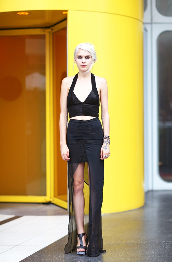 STREET STYLE SPRING 2013: NYFW - Katie Gallagher has that moody goth look down. #nyfw