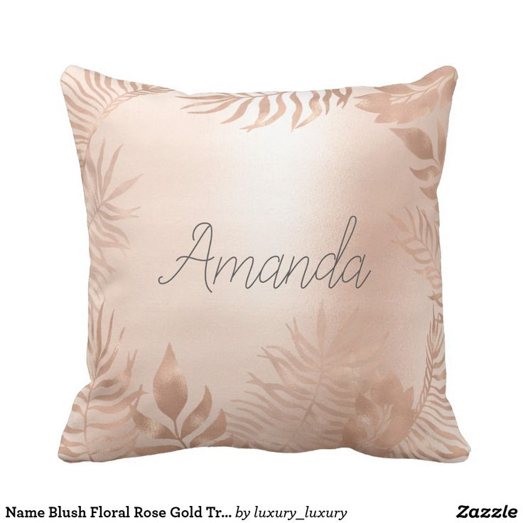 Name Blush Floral Rose Gold Tropical Frame Throw Pillow